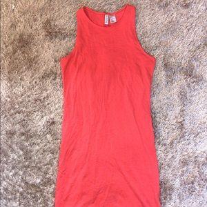 H&M neon orange tank mini dress